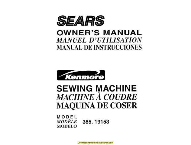 Kenmore 385.19153 Sewing Machine Instruction Manual