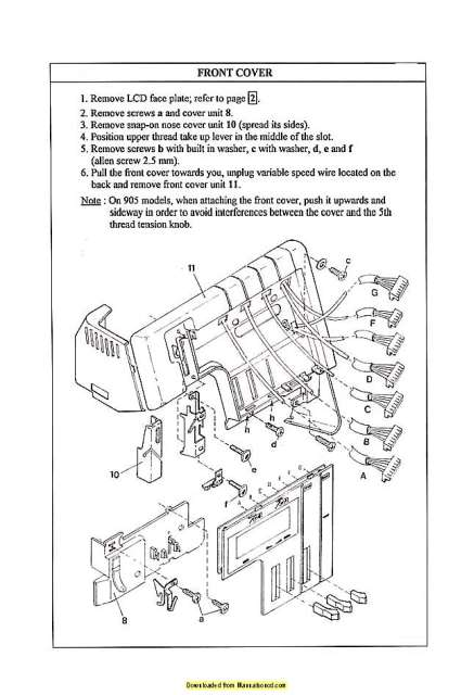Elna 925DCX-704DEX Sewing Machine Service Manual Plus