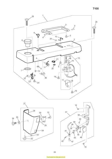 Elna 7100 Sewing Machine Service Manual Plus Parts Diagrams