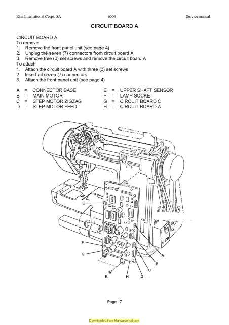 Elna 6004 Sewing Machine Service Manual Plus Parts
