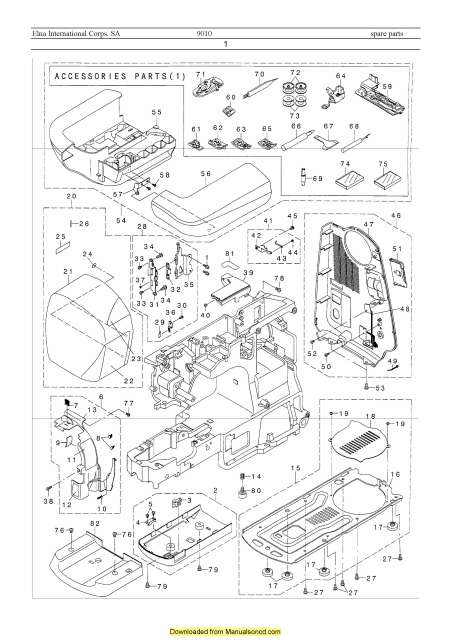Elna 9010 Xquisit Sewing Machine Service-Parts Manual