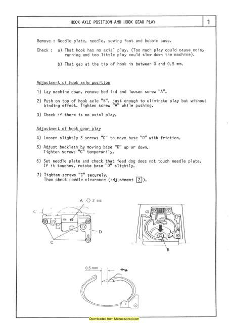 Elna 1500 1600 Sewing Machine Service Parts Manual