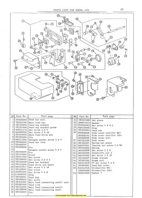 Janome 434 MyLock Sewing Machine Service-Parts Manual