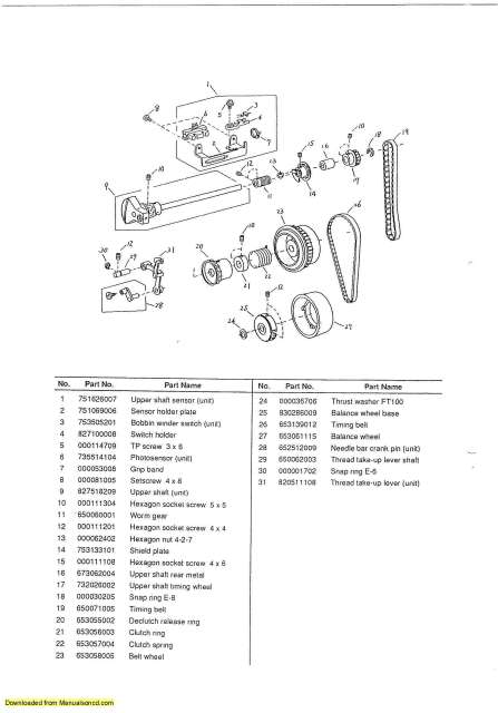 Janome 4123 Sewing Machine Service-Parts Manual
