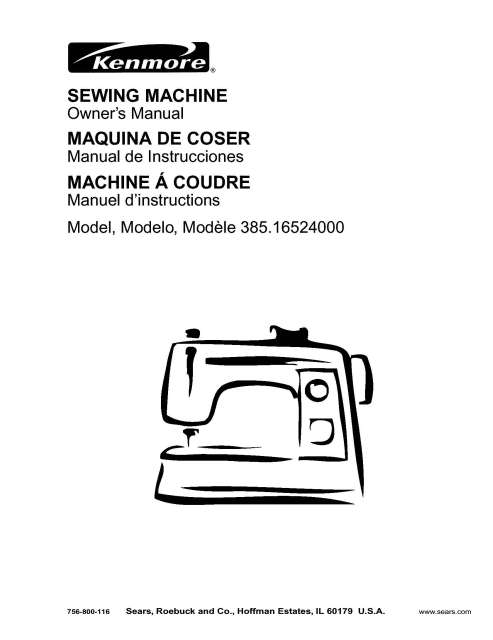 Kenmore 385.16524000 Sewing Machine Instruction Manual