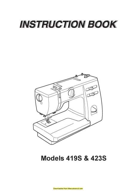 Janome 419S-423S Sewing Machine Instruction Manual