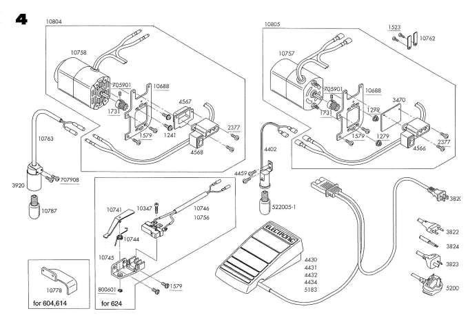 Elna 604E-614DE-624DSE Sewing Machine Service-Parts Manual