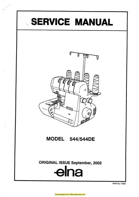 Elna 544-544DE Serger Sewing Machine Service Manual