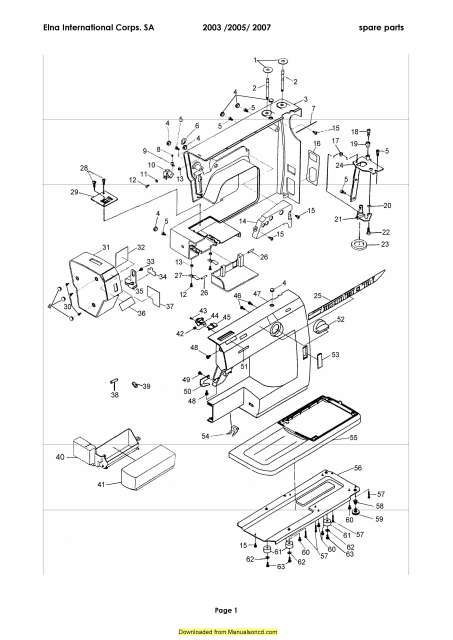 Elna 2003-2005-2007 Sewing Machine Service-Parts Manual