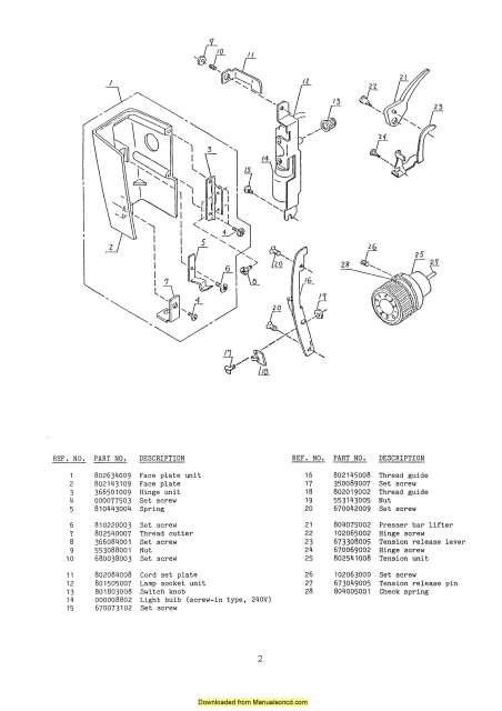 Janome 802 Sewing Machine Service-Parts Manual