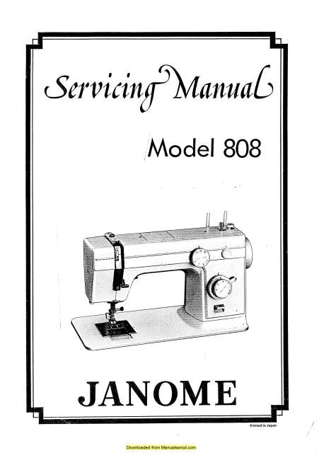 Janome 808 Sewing Machine Service-Parts Manual