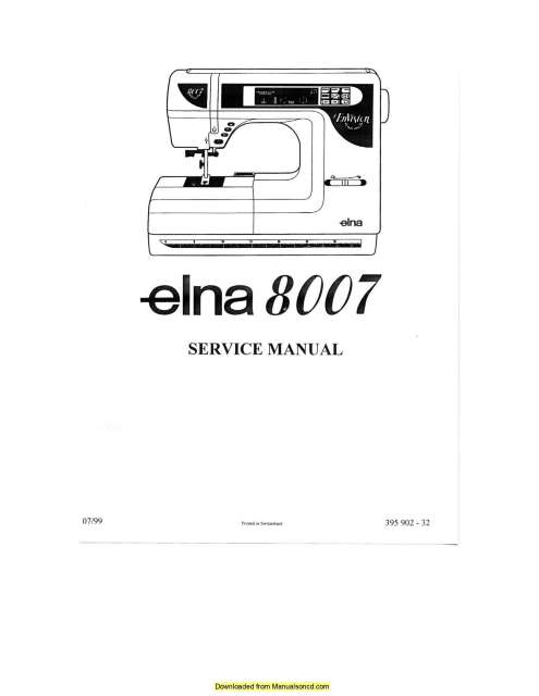 Elna 8007 Envision Sewing Machine Service-Parts Manual
