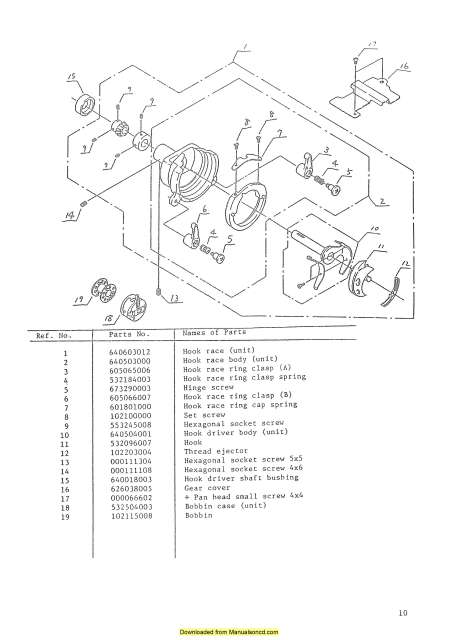 New Home Janome 656 Sewing Machine Service-Parts Manual