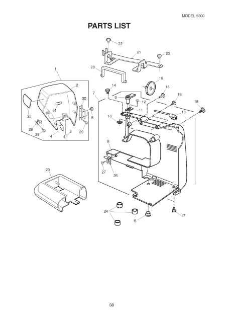 Elna 5300 Sewing Machine Service-Parts Manual