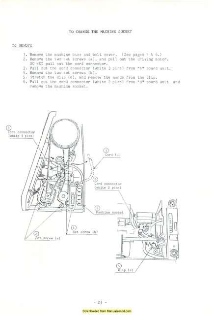 Janome 7500 Memory Craft Sewing Machine Service-Parts Manual