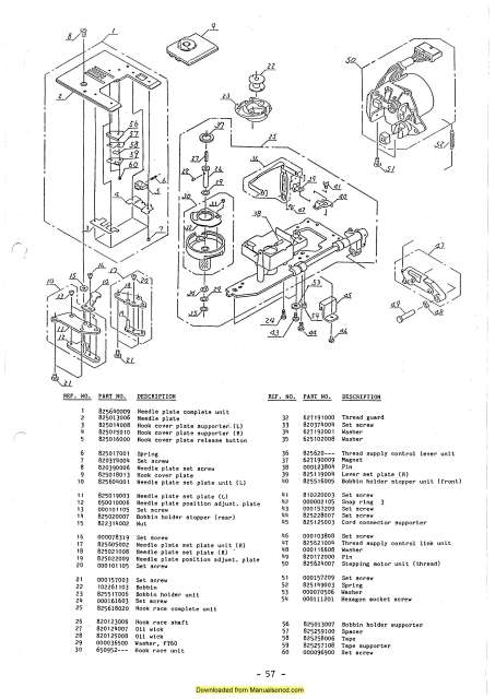 Janome 7500 Memory Craft Sewing Machine Service-Parts Manual