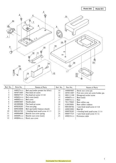 Janome New Home 640-641 Sewing Machine Service-Parts Manual