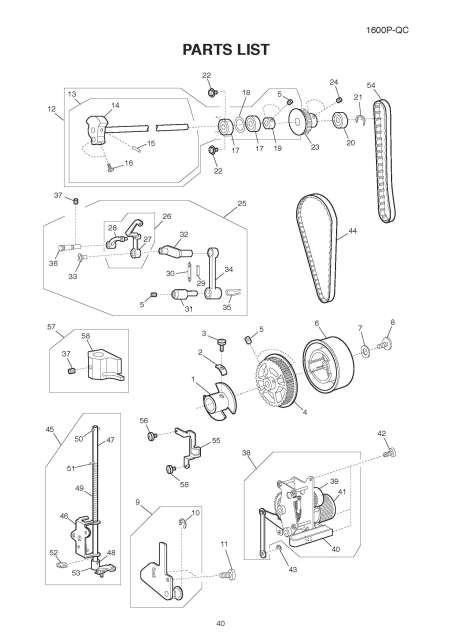 Janome 1600P-QC Sewing Machine Service-Parts Manual