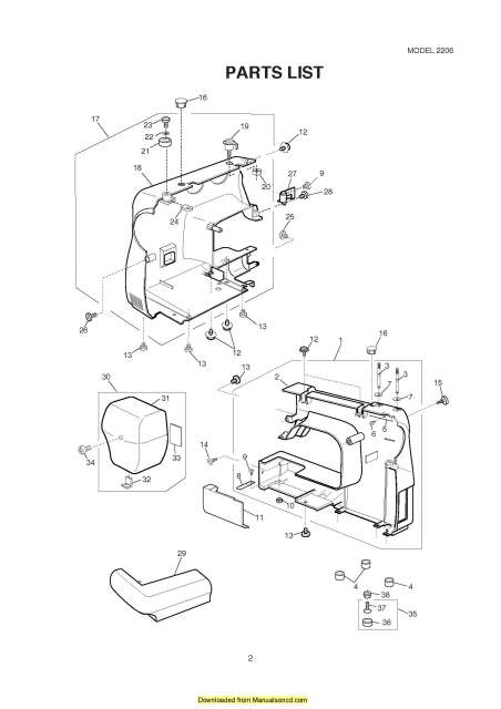 Janome 2206-2212 Sewing Machine Service-Parts Manual