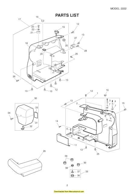 Janome 2222 Sewing Machine Service-Parts Manual