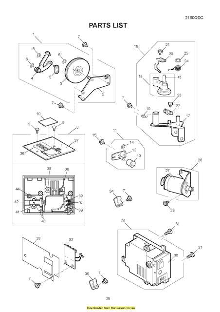 Janome 2160QDC Sewing Machine Service-Parts Manual