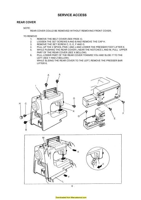 Janome New Home JD 1804 Sewing Machine Service-Parts Manual