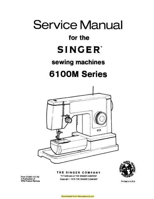 Singer 6103 Sewing Machine Service Manual