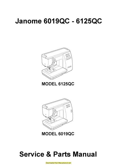 Janome 6019QC-6125QC Sewing Machine Service-Parts Manual