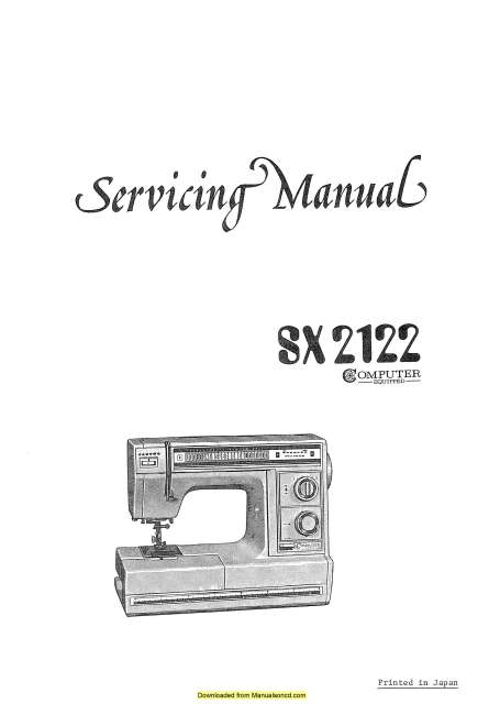 Janome SX2122 Sewing Machine Service-Parts Manual