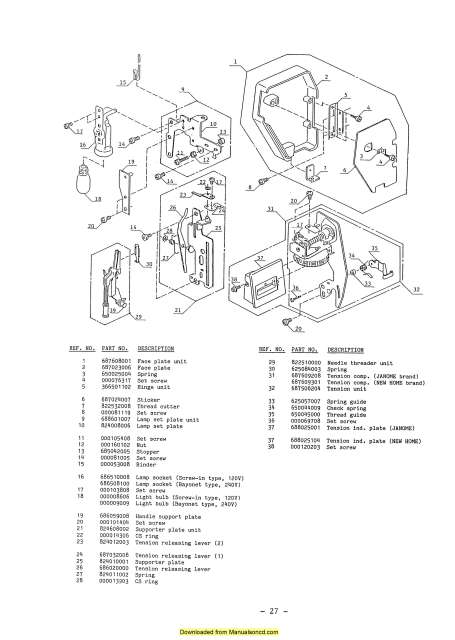 Janome SX2122 Sewing Machine Service-Parts Manual