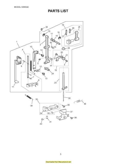 Janome 6260QC Sewing Machine Service-Parts Manual