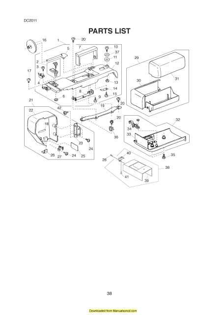 Janome DC2011 Sewing Machine Service-Parts Manual