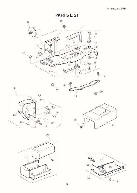 Janome DC2014 Sewing Machine Service-Parts Manual