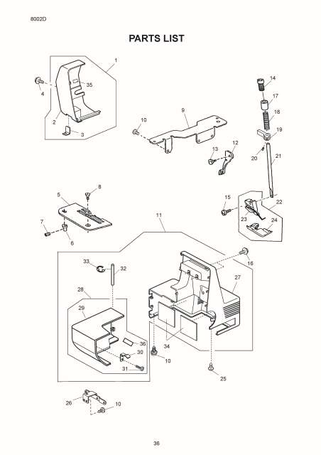 Janome 8002D Sewing Machine Service-Parts Manual