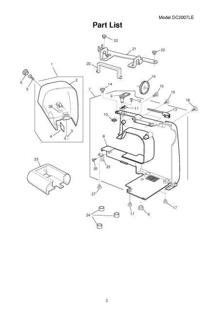 Janome DC2007LE Sewing Machine Service-Parts Manual
