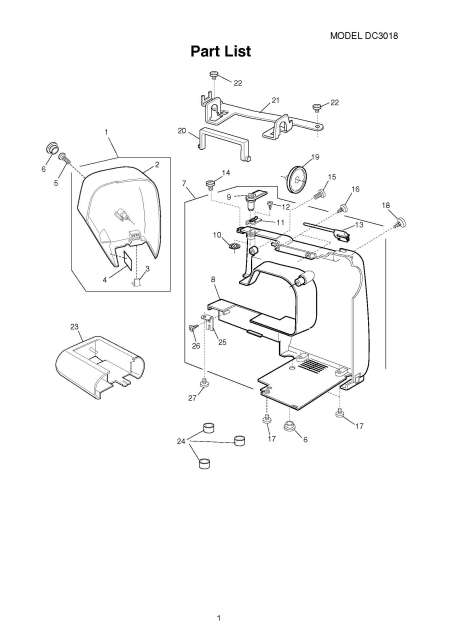 Janome DC3018-DC3050 Sewing Machine Service-Parts Manual