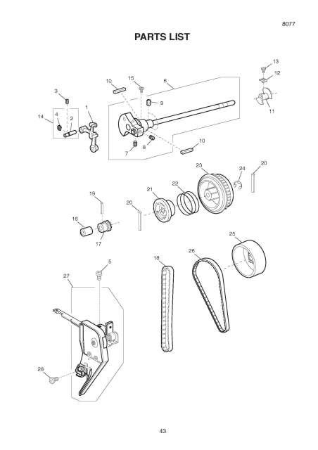 Janome HF8077 Sewing Machine Service-Parts Manual