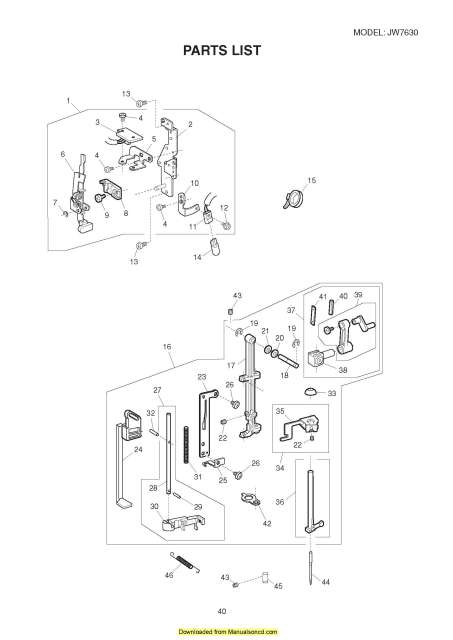 New Home Janome JW7630 Sewing Machine Service-Parts Manual