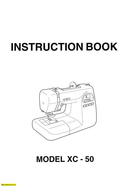 Janome XC-50 Sewing Machine Instruction Manual