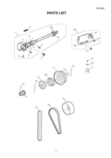 Janome MC200E Sewing Machine Service-Parts Manual