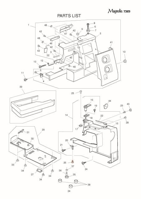 Janome 7325 Sewing Machine Service-Parts Manual