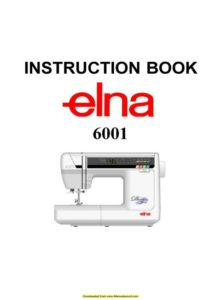 Elna 6001 Sewing Machine Instruction Manual