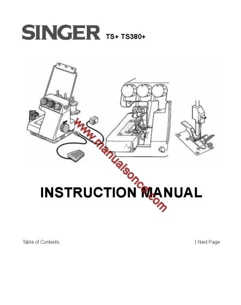 Singer TS+ TS380+ Sewing Machine Instruction Manual
