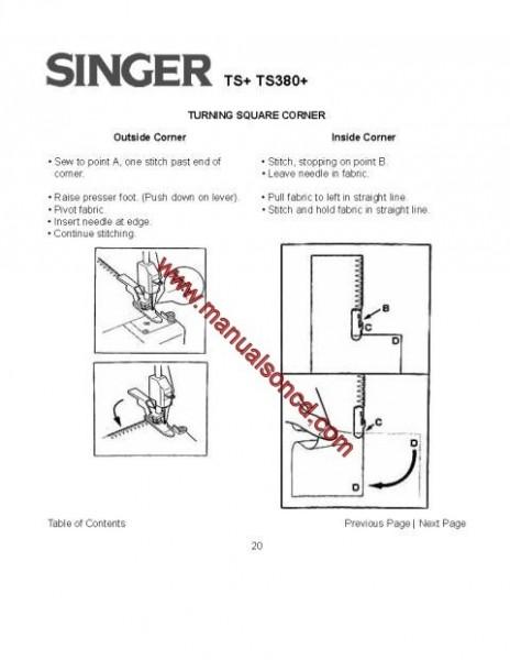 Singer TS+ TS380+ Sewing Machine Instruction Manual