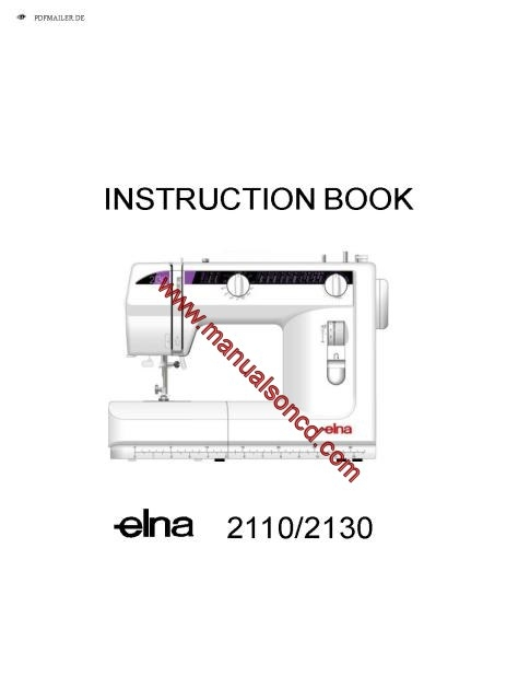 Elna 2110-2130 Sewing Machine Instruction Manual
