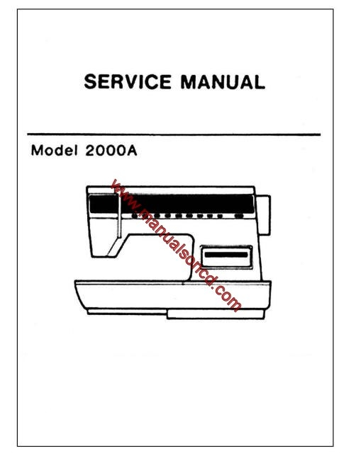 Singer 2000A Sewing Machine Service Manual Pdf