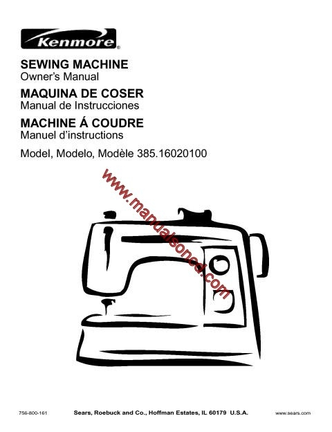 Kenmore Model 385.16020100 Sewing Machine Manual