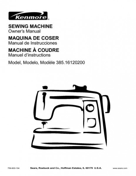 Sears Kenmore Model 385.16120200 Sewing Machine