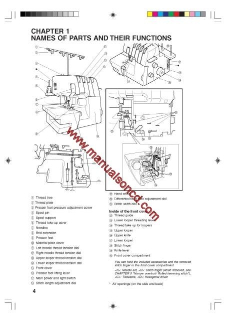 Brother 3034D Overlock Sewing Machine Instruction Manual