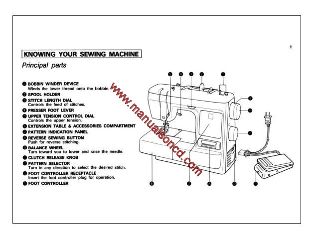 Brother XL2010 Sewing Machine Instruction Manual